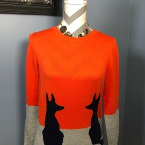 Crown & Ivy orange and grey sweater with navy dogs